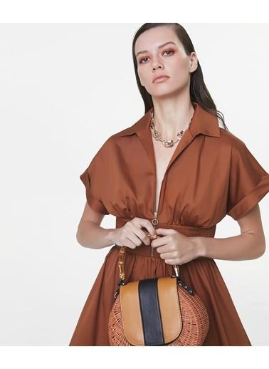 Ipekyol Bel Vurgulu Midi Elbise Oranj